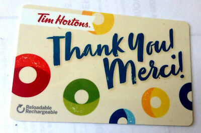 Tim Hortons Rechargeable Gift Card Thank You Merci Fd56321