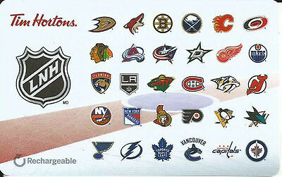 TIM HORTONS NHL HOCKEY LOGO 2016 FRENCH x2 MINT GIFT CARD RECHARGEABLE