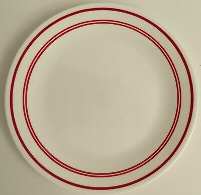 """Corelle Classic Cafe Red Dinner Plate  Red Bands 10"""" Diameter VGC"""
