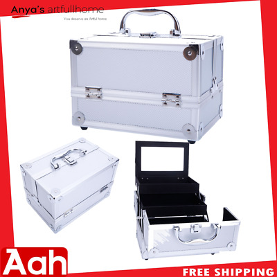 Travel Aluminum Makeup Train Case Cosmetic Tattoo Jewelry Box With Mirror