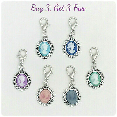 Buy 3 Get 3 Free! Clip on cameo charms for bracelet, necklace - lobster clasp