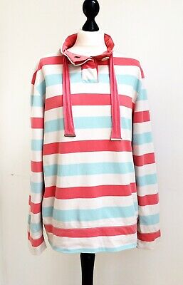 Tu Ladies Sweatshirt Blue Orange White Striped Cotton Drawstring VGC Size 16