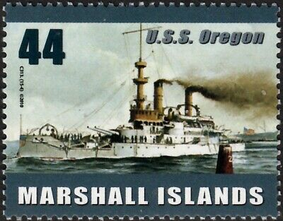 WWI & WWII USS OREGON (BB-3) US Navy Indiana-Class Battleship Warship Ship Stamp
