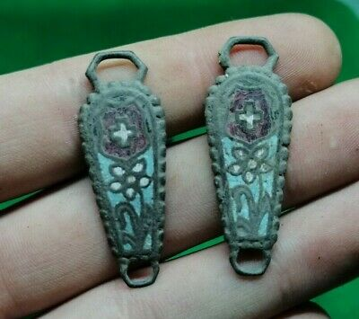 Superb Pair Of Medieval Enameled Christian Pendants With Fine Details - 1200 Ad