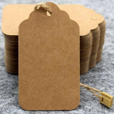 100pcs Brown Kraft Paper Gift Tags Wedding Scallop Label Blank Luggage + Strings