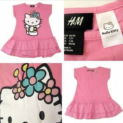 New Girls Pink Hello Kitty Summer Dress H&M Age 2-4 Yrs