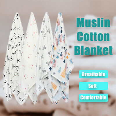 Soft Baby Swaddle Blanket Newborn Napping Bedding Cover Muslin Throws Wrap Towel
