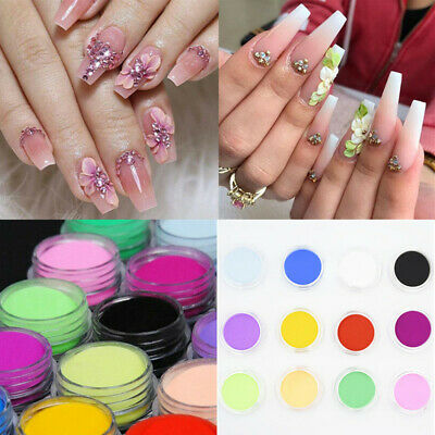 12 Boxes Colors Acrylic Nail Art Tips UV Gel Powder 3D Nail Decoration Dust DIY