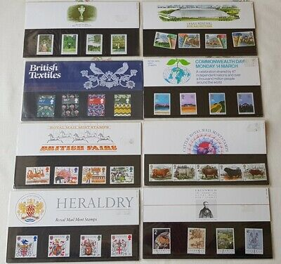 8 x VARIETY OF PRESENTATION PACKS OF ROYAL MAIL MINT STAMPS