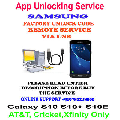 NETWORK UNLOCK APP SERVICE SAMSUNG Galaxy S10 S10+ S10E VIA USB AT&T, Cricket