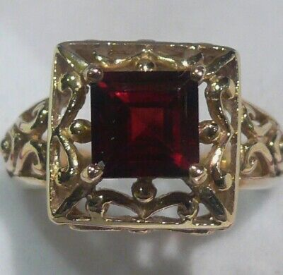 Heavy 5.12G Solid 9Ct Gold Mozambique Garnet Antique Style English Ring Hm~Sz N
