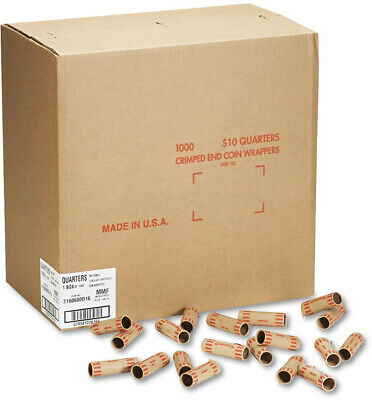Tubular Coin Quarters $10 - 1000 Wrappers/Box Kraft Paper Denomination