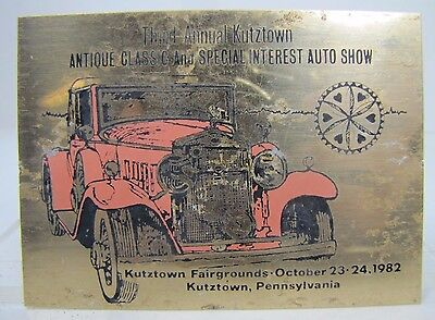 1982 3rd Annual KUTZTOWN Antique Classic Auto Club Meet Sign Dash Plaque
