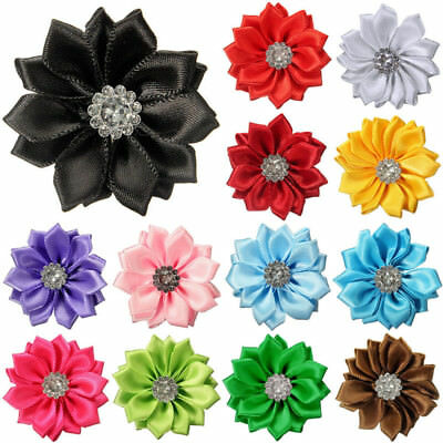 10/20/30pcs Satin Ribbon Flowers Bows W/ Appliques Sewing DIY Crafts Wedding UK