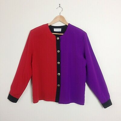 Vintage 80s 90s Red Purple Black Colour Block Top | Size 12 | Harley Quinn Vibes