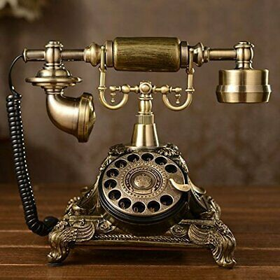 Vintage Rotary Dial Phone Retro Bronze Telephone Gold Antique Collectors Gifts