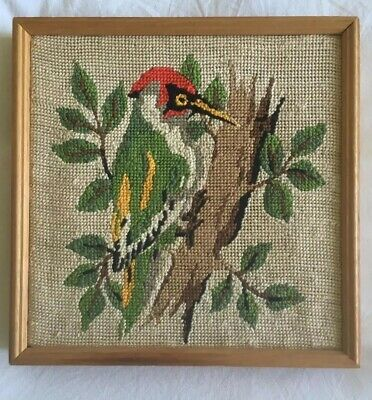 VINTAGE RETRO Bird Woodpecker TAPESTRY NEEDLEPOINT  PICTURE