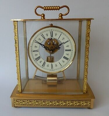 Superb Vintage Keininger & Obergfel Brass Battery Mantel Clock  working 2970