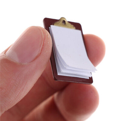 Mini Dollhouse Miniature Accessories Alloy Clipboard with Real Paper Attached VG