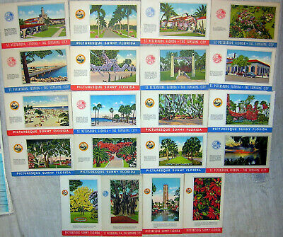 Lot of 20 Vintage Picturesque Sunny Florida Linen Postcards