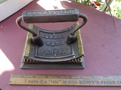 RARE Antique Cast Iron and Brass Howell's WAVY Fluting Iron Old SAD IRON CRIMPER