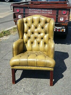 Vintage Golden Brown Leather Chesterfield Wingback Armchair