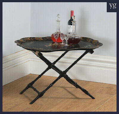 Antique Victorian Ebonised Chinoiserie Papier Mâché Folding Butlers Drinks Tray