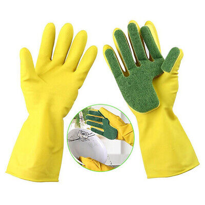 Scrub Gloves Dish Washing Cleaning Silicone Sponge Rubber Soft Scouring YSC
