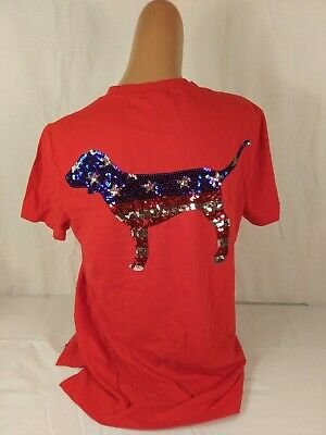 c95699bc3e7f Victoria's Secret Pink Line Red T Shirt Size X Small Sequined Logo Dog Vs  Bling