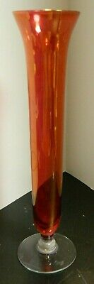 """Vintage Iridescent Cranberry Tapered Footed Glass Vase 10"""" x 2.63"""" Excellent"""