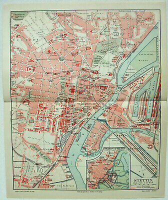 Original 1908 City Map of Stettin, Germany by Meyers. Pomerania Szczecin Antique