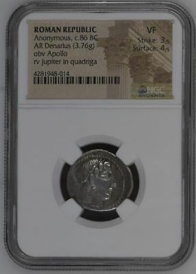 "NGC Roman Republic Silver Denarius, ANONYMOUS Issue, 86 BC, Apollo, ""VERY FINE"""