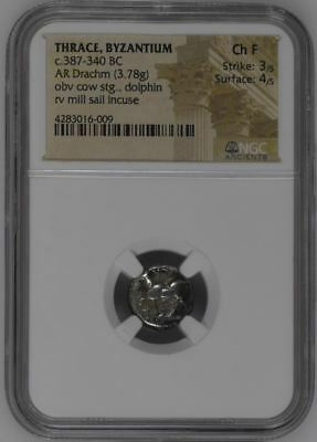 "NGC Ancient Greek Silver Drachm, BYZANTIUM, 4th Century BC, Graded ""Choice FINE"""