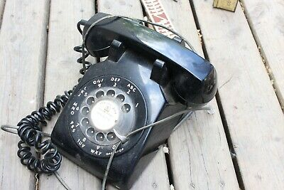 Vintage MTS Rotary Dial Telephone Black PHONE With Cords 1973 Home Decor