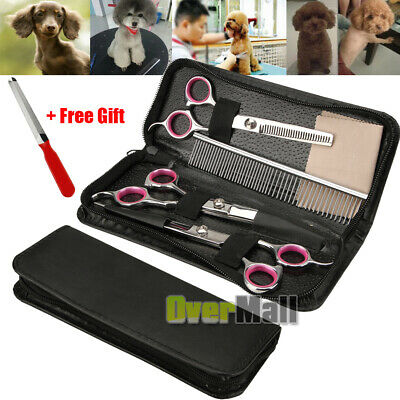 "7"" Professional Pet Grooming Scissors Set Dog Cutting Curved Thinning Shears Kit"