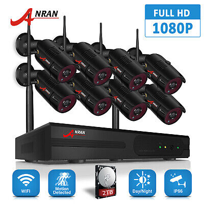 ANRAN 1080P 8CH Wireless Security Camera System Outdoor IP 2TB HDD Home Security