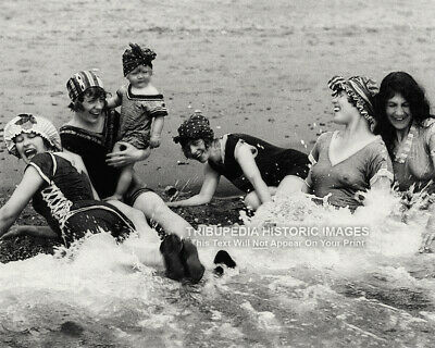 Vintage 1900s 8x10 Photo 5 Bathing Beauties Playing in Ocean Swimsuits Flappers