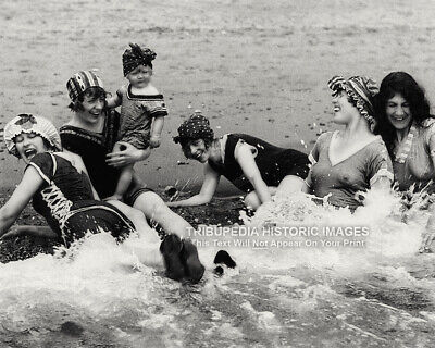 Vintage 1900s 8x10 Photo Beautiful Women in Bathing Swim Suits Playing at Beach