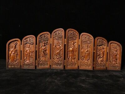 """16"""" Chinese old antique Boxwood wooden handcarved Eight Immortals statue"""