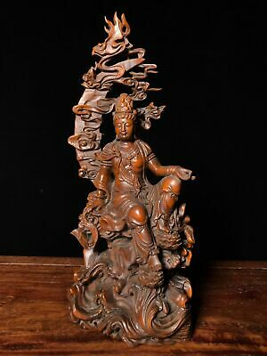 """9"""" Chinese old antique Boxwood wooden handcarved Kindly guanyin statue"""