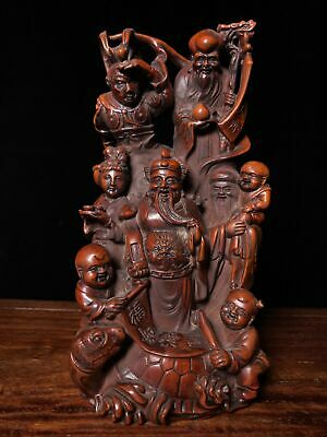 """7"""" Chinese old antique Boxwood wooden handcarved Five Mammon statue"""