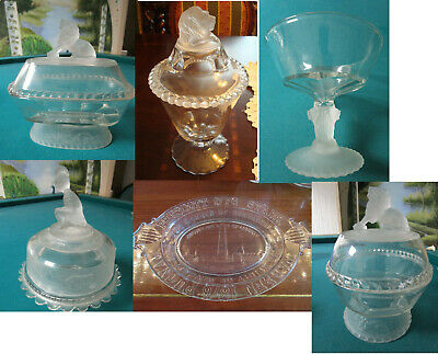 GILLINDER & SONS 1800s FOOTED COVERED COMPOTE LION FROSTED HEAD