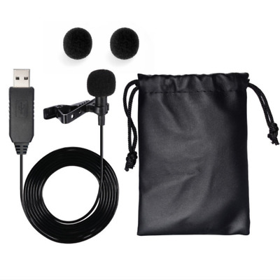 USB Omnidirectional Clip On Shirt Clip Mic with Tie Collar Mini Microphone