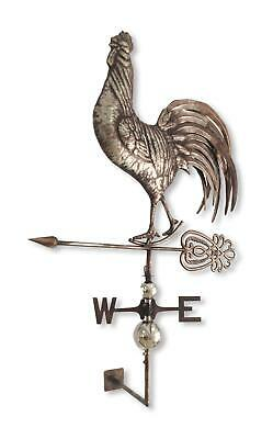 Crowing Rooster Weathervane Stainless Steel Decorative Wall Mount Antique Decor
