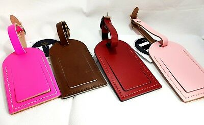LEATHER Luggage TAG Bag Suitcase Luggage Lables Gloss Finish New Bright Colours