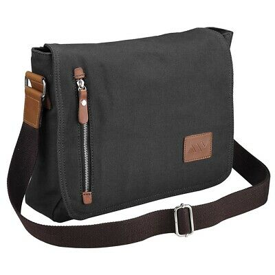 AW Canvas Bag Mens Military Vintage Hiking Satchel School Shoulder Messenger