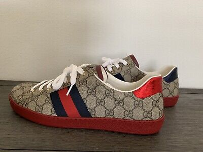 033df5ee2 GUCCI MEN'S NEW Ace GG Supreme Sneaker Size 7.5 Classic Beige, MSRP ...