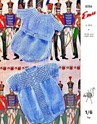 Vintage Knitting Pattern Cute Baby Romper Suits 4 Ply