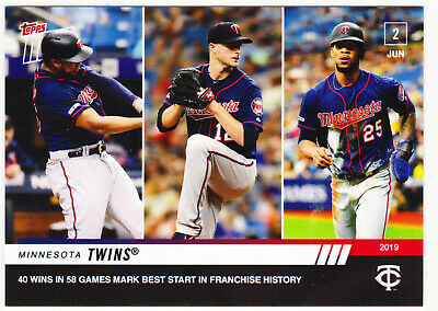 Byron Buxton Jake Odorizzi Twins 2019 Topps NOW 316 40 Wins in 58 Games 6/2/19