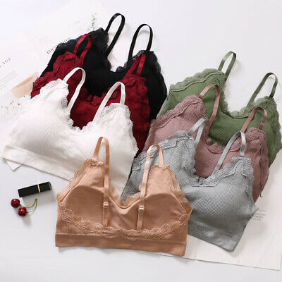 Womens Sexy Lace Bras Casual Pure Color Bralette Wire Free Strap Seamless Bra FT